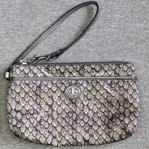 Coach Wristlet Snake Fabric with Leather Trim